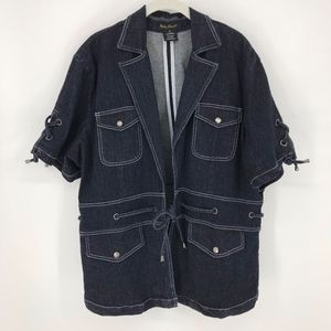 Ashley Stewart Tie Front Denim Jacket